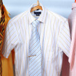 Mix color Shirt and Tie on Hangers — Stock Photo #3012915