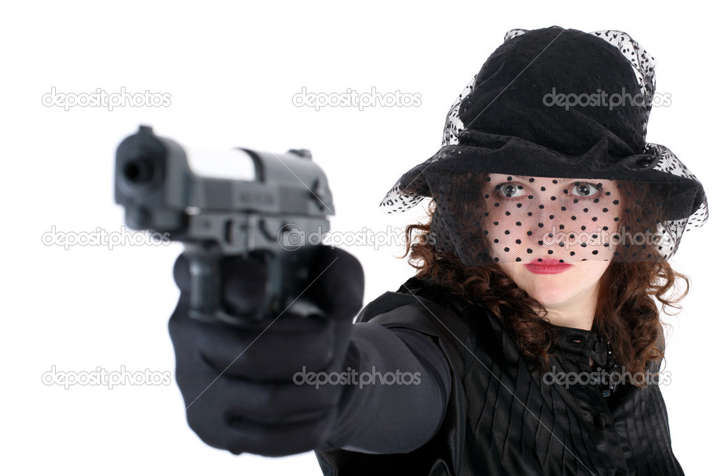 Girl in hat with gun isolated on white — Stock Photo #3010282