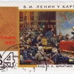 Lenin at map GOELRO — Stock Photo
