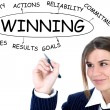 Businesswoman drawing plan of Winning - Stock Photo