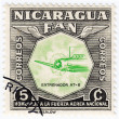 Stamp printed in Nicaragua shows plane — Stock Photo