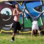 Modern dancers in сity — Stock Photo #3393648