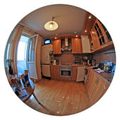 Kitchen in circular fish eye — Stock Photo
