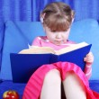 Girl reading book with apple at sofa - Stock Photo