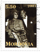 Louis Armstrong and singer Ella Fitzgerald — Stock Photo