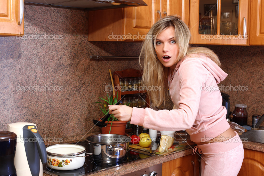 sexy blondes are enjoying lesbian fun in the kitchen  52557