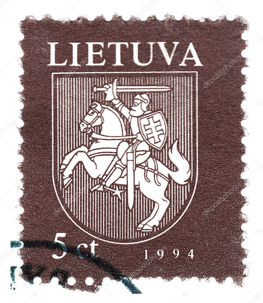 Stamp printed in Lithuania shows old knight , circa 1994 — Stock Photo #3626164