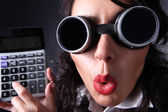 Manager with calculator — Stock Photo