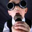 Little boy singer with mic — Stock Photo #3819939