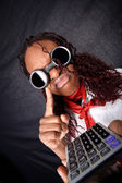 Bad news for your business - afro american with calculator — Stock Photo