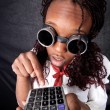 Afro american with calculator - Stockfoto