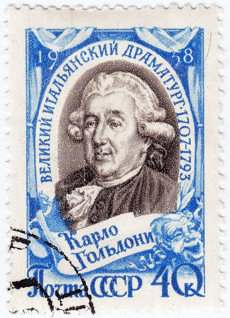 Stamp printed in Russia shows Carlo Osvaldo Goldoni (1707-1793) was a celebrated Venetian playwright and librettist, circa 1958 — Stock Photo #3923176