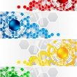 Vector set of banners with hexagon - Stock Vector