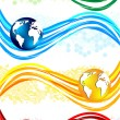Royalty-Free Stock Vector Image: Vector set colorful wavy banners with globe