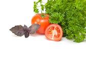 Parsley, basil and tomato — Stock Photo