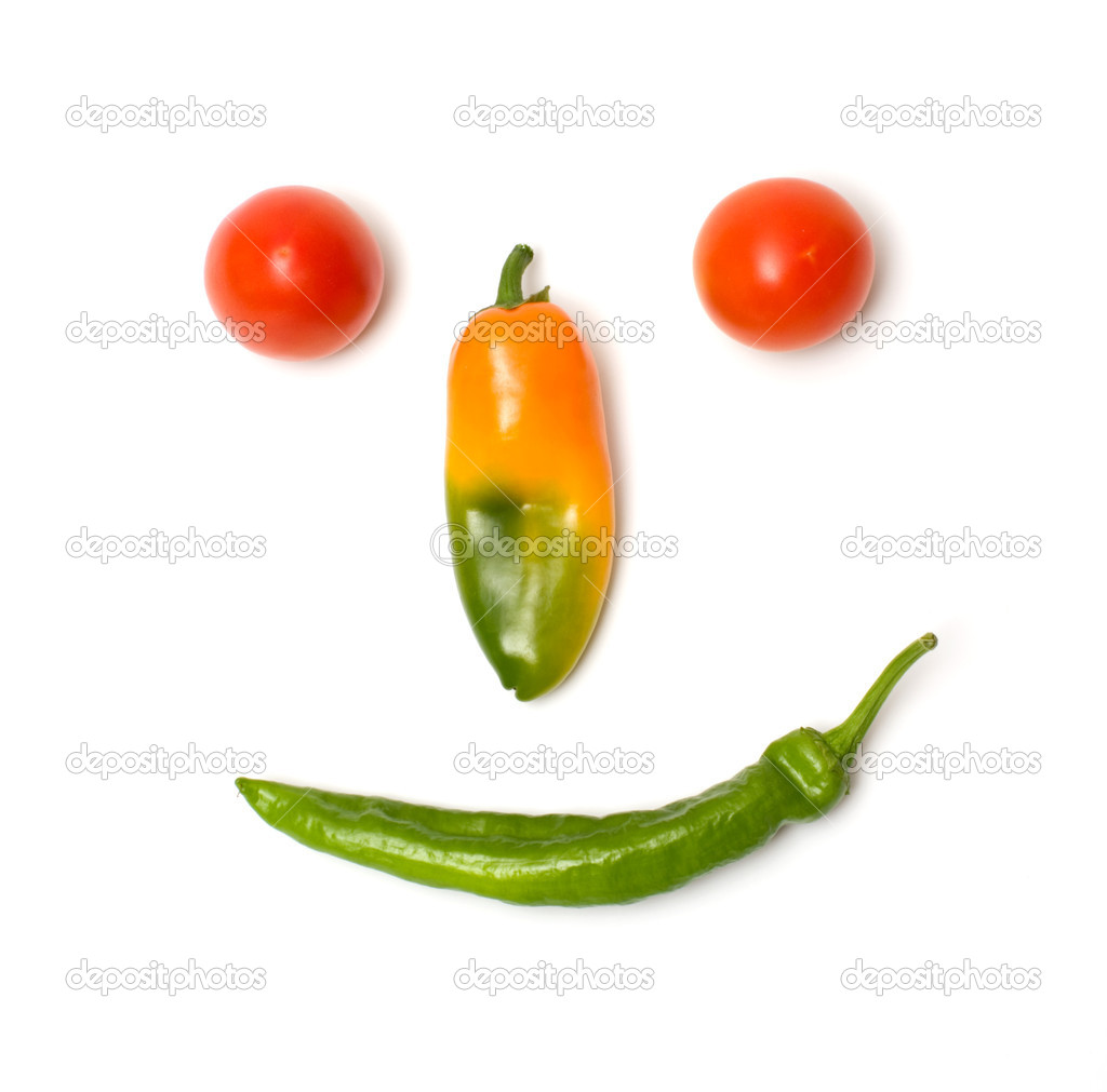 Smiling face of fresh vegetables isolated on a white background. — Stock Photo #3609014