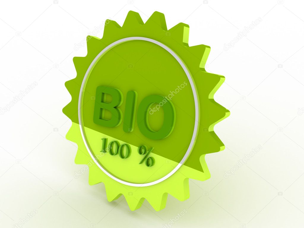 Green label bio 100% — Stock Photo #3570491