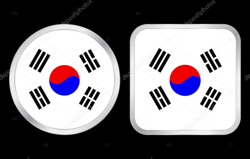 South Korea flag - two icon on black background. Vector illustration. — Stock Vector #3699168
