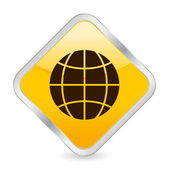 Globe yellow square icon — Stock Vector