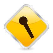 Icône carrée micro jaune — Vecteur
