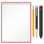 Notebook and pen pencil and marker — Stock Vector