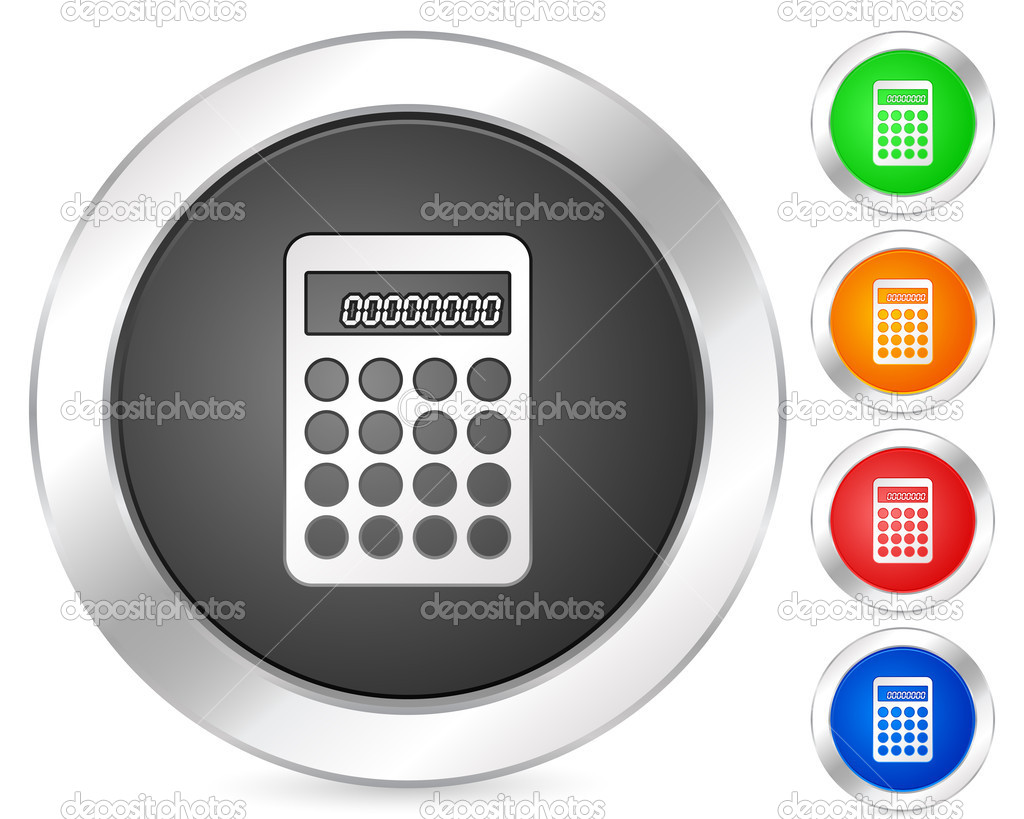 Computer icon calculator set isolated on a white background. Vector illustration. — Stock Vector #3879027