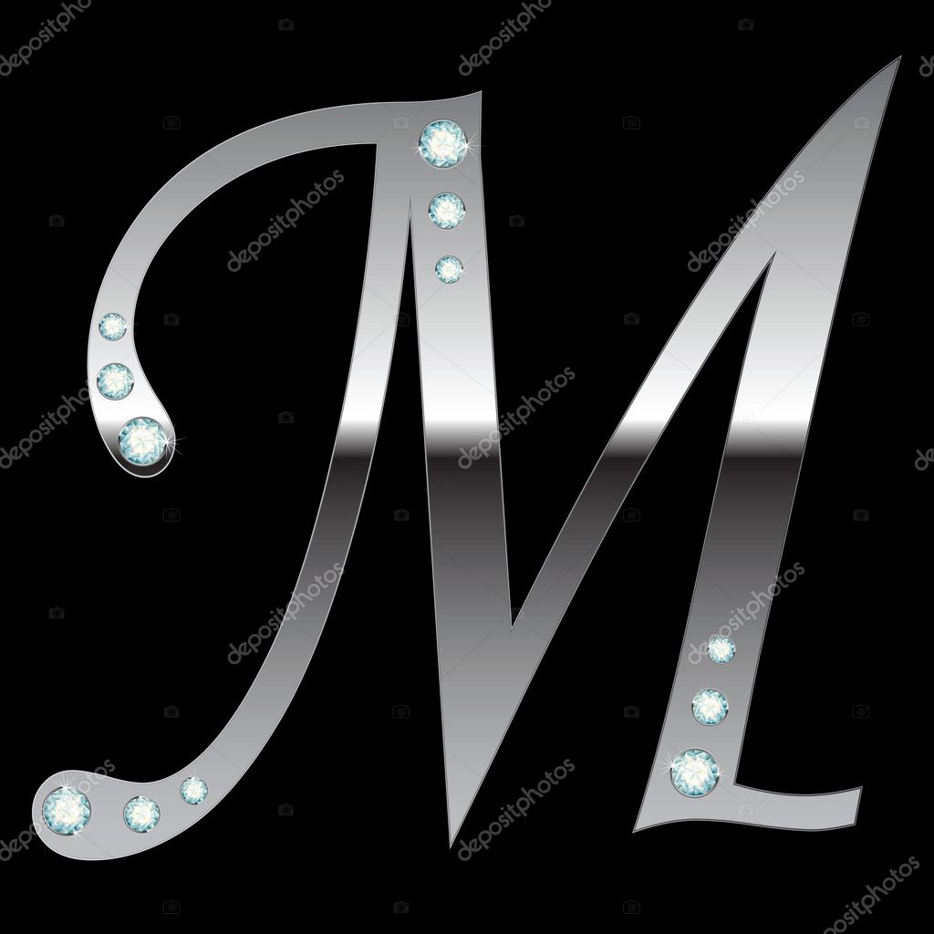 Vector silver metallic letter M with stripes isolated — Imagens vectoriais em stock #2772152
