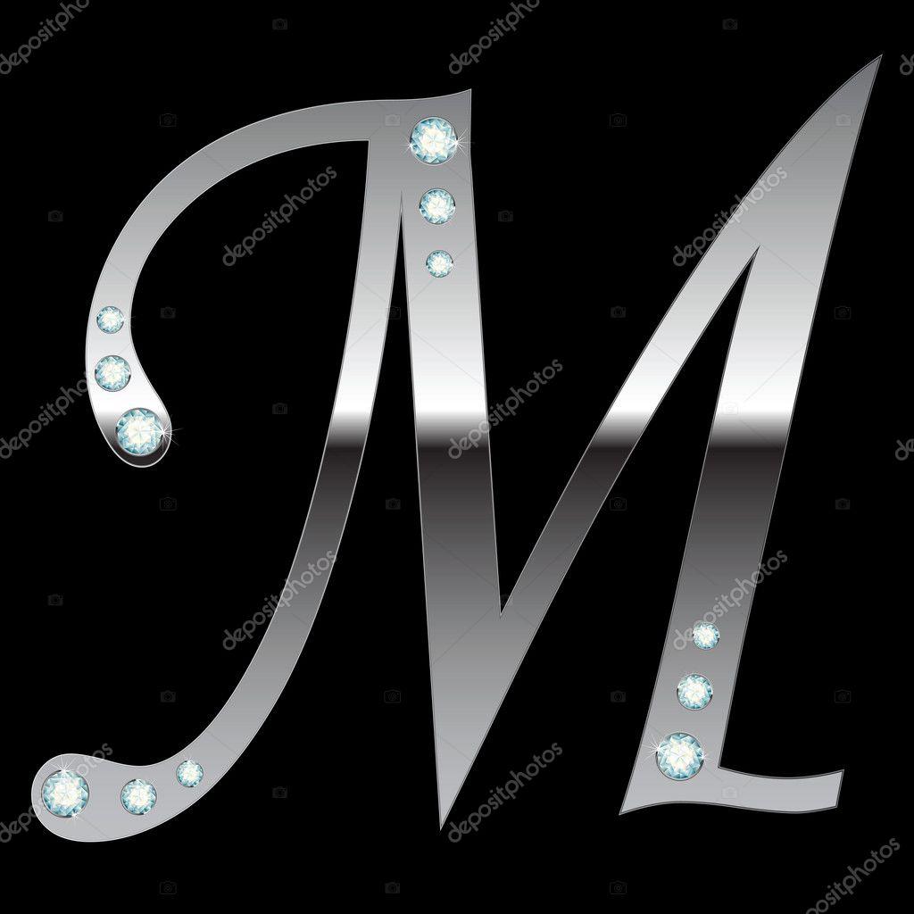 M Letter In Silver Silver metallic...