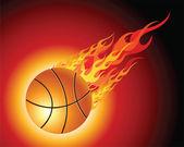 Fiery basketball ball — Stock Vector