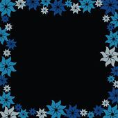 Blue flower burst on black background — Vector de stock