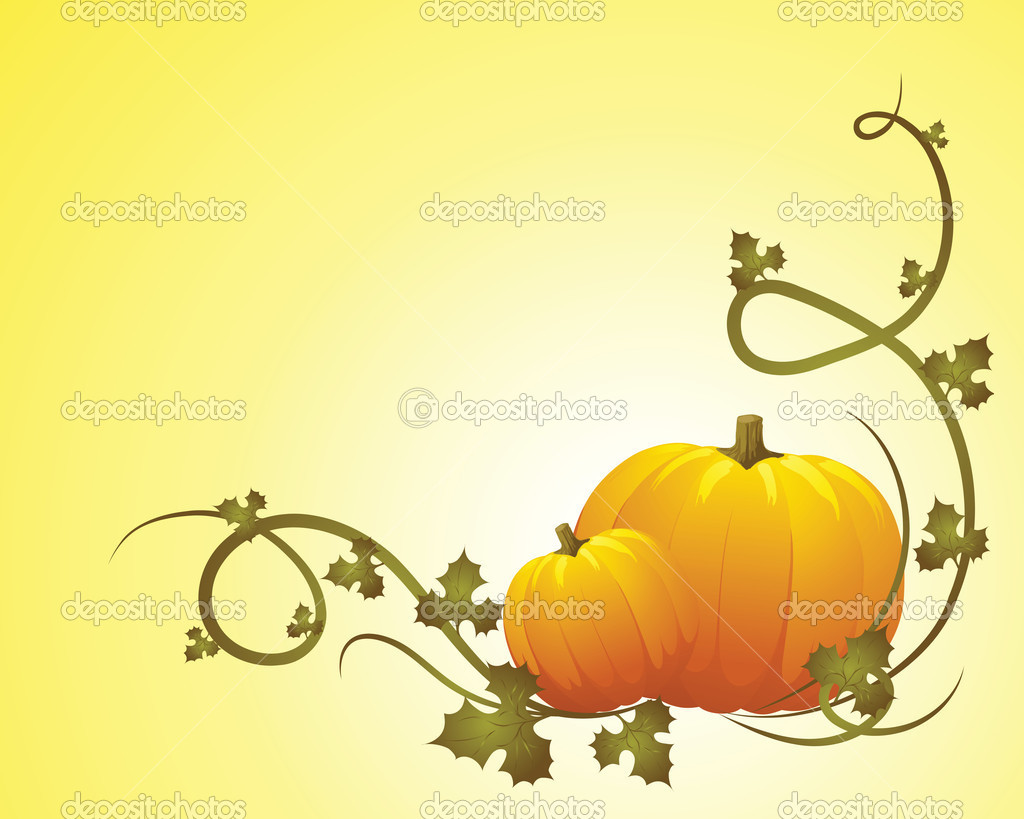 Halloween pumpkin vegetables with green leaves - vector illustration — Stock Vector #3777616