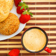 Royalty-Free Stock Photo: Coffee, buns and strawberries on table