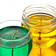 Stock Photo: Green and yellow gel candles