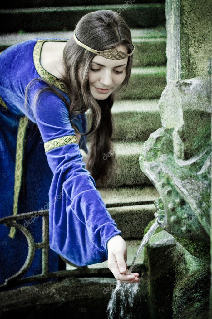 Medieval girl next ancient spring, textured  Stock Photo #3654837