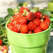 Royalty-Free Stock Photo: Ripe juicy strawberries in a green cup