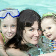 Family have rest in swimming pool. — Stock Photo
