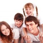 šťastná rodina se dvěma dětmi — Stock fotografie
