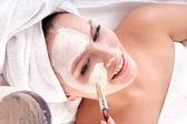 Cosmetician make mask. Facial massage. — Stock Photo