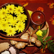 Spa still life with flower on brown background. - Stock Photo