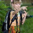 Child shoot summer tropical nature. — Stock Photo