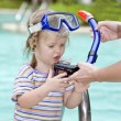 Stock Photo: Child learn to swim .
