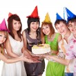 Royalty-Free Stock Photo: Group teenager in party hat.