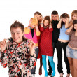 Royalty-Free Stock Photo: Big group of teenager. Problem.