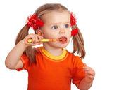 Child girl clean brush teeth. — Stock Photo