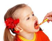Child l clean brush teeth. — Stock Photo