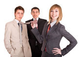 Group of in business suit. Feminism. — Stockfoto