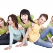 Stock Photo: Group of young . Isolated.