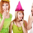 Group girl on birthday eat chocolate cake. Isolated. — Foto Stock