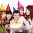Happy group of with cake. — Stock Photo
