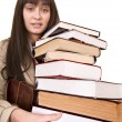Clever girl with group book. — Stock Photo